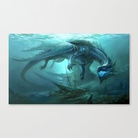 Blue Dragon v2 Canvas Print