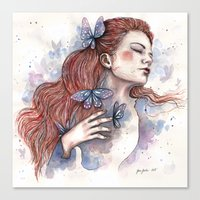 Girl with a butterfly II, watercolor artwork / illustration Canvas Print