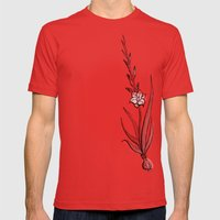 Gladiolus Flower Mens Fitted Tee Red SMALL