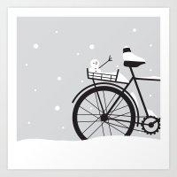 Bicycle & Snow Art Print