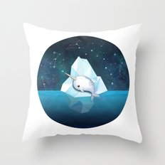 Baby Narwhal on Iceberg Throw Pillow