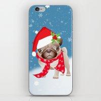 Pug Dog With Cute Santa … iPhone & iPod Skin