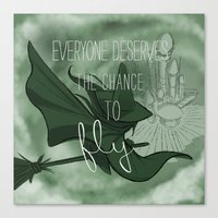 Everyone Deserves the Chance to Fly (green) Canvas Print