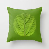 green leaf structure XII Throw Pillow