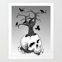 Skull And Tree Art Print