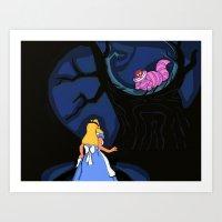 Alice and Cheshire Cat Art Print