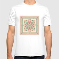 Terra and Turquoise Possibilities Mandala Mens Fitted Tee White SMALL