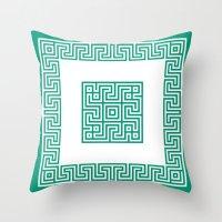 Greek Key Emerald Throw Pillow