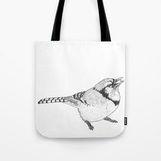 Black and White Blue Jay Tote Bag