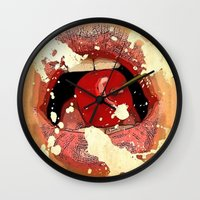Red Cherry Lips Wall Clock