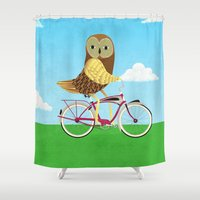 Owl Bicycle Shower Curtain