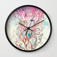 Floral clover Wall Clock