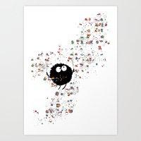 Blowing rainbow bubbles Art Print