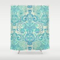 Botanical Geometry - nature pattern in blue, mint green & cream Shower Curtain