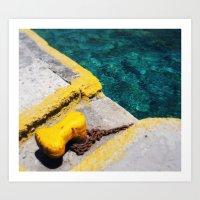 aegean sea santorini Art Print