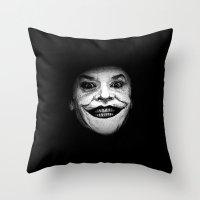 Jack Nicholson as The Joker - Pencil Sketch Style Throw Pillow
