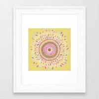 Yellow Sunflower Mandala Framed Art Print