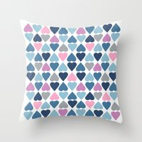 Diamond Hearts Pink Throw Pillow