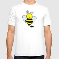 Bee Positive White Mens Fitted Tee SMALL