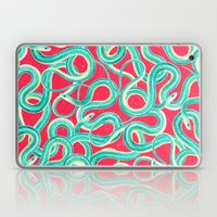 Turquoise Red Cool Abstract Wild Snakes Painting Laptop & iPad Skin