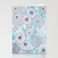 Floral Doodle in Blue Stationery Cards