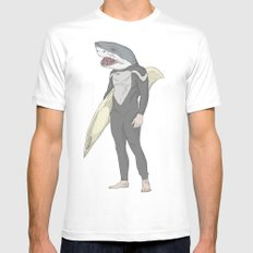 SHARK SURFER Mens Fitted Tee SMALL White