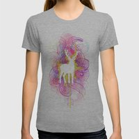 Hipster Deer Womens Fitted Tee Athletic Grey SMALL