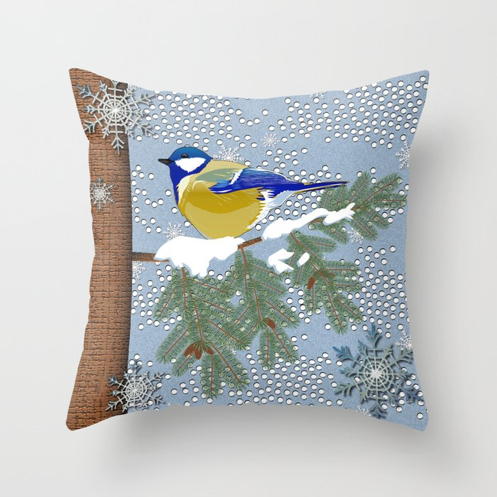 Blue Bird Throw Pillows : Blue bird in winter Throw Pillow by Vannina Society6