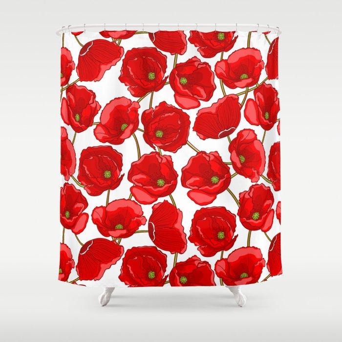 Red Poppies Shower Curtain By Melazerg