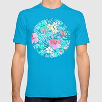 Pretty Pastel Hawaiian Hibiscus Print Mens Fitted Tee Teal SMALL