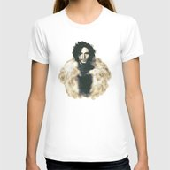 Jon Snow Womens Fitted Tee White SMALL