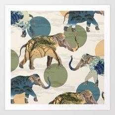 Elephant Polka Art Print
