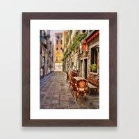 Sidewalk Cafe In Venice Framed Art Print