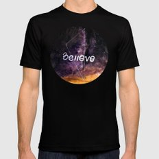 don't stop believing Black SMALL Mens Fitted Tee