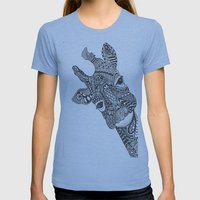 Zentangle Giraffe Womens Fitted Tee Athletic Blue SMALL