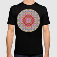 Brightly Coloured Kaleid… Mens Fitted Tee Black SMALL