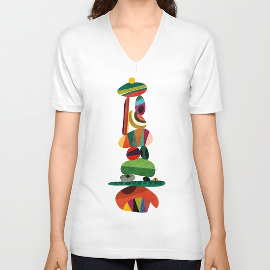 Totem - balanced pebbles V-neck T-shirt