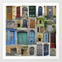 doors in bruges and rural france - a beautiful collage - browns blues greens brown blue green Art Print