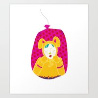 wabbit in a bag - neon version Art Print