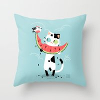 Watermelon Cat Throw Pillow
