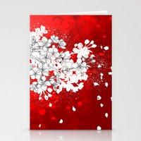 Red Skies And White Saku… Stationery Cards