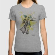 Doctor Who 10th Doctor D… Womens Fitted Tee Athletic Grey SMALL