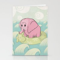 Elephant Across The Sea Stationery Cards