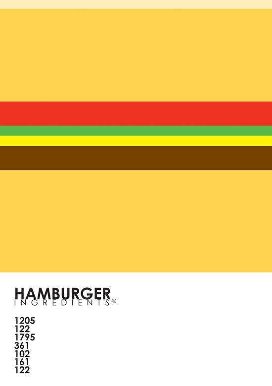 Pantone Food - Hamburger Art Print