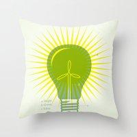 Bright Green Ideas Throw Pillow