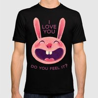 Bunny with love Mens Fitted Tee Black SMALL