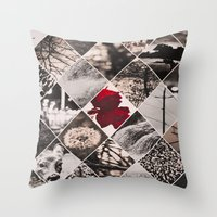 Black/white + Rose Throw Pillow