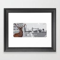 Cityscape Deer Framed Art Print