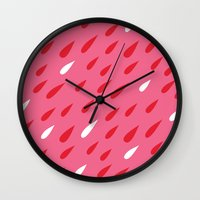 Red + Pink Droplets Wall Clock