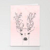 Cute handdrawn floral deer antlers pink watercolor Stationery Cards